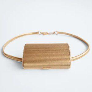 NWT Zara Metal Matte Gold Pocket Belt